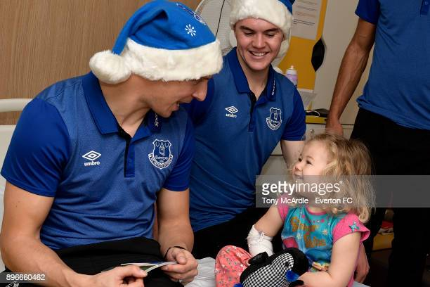 Phil Jagielka and Michael Keane during the visit of Everton players Christmas visit to Alder Hey Childrens Hospital on December 21 2017 in Liverpool...