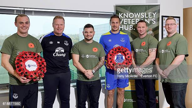 Phil Jagielka and Ronald Koeman attend an Everton In The Community event at Finch Farm on October 28 2016 in Halewood England
