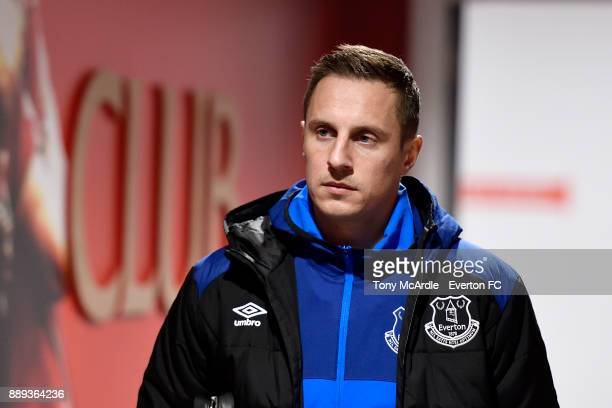 Phil Jagielka arrives before the Premier League match between Liverpool and Everton at Anfield on December 10 2017 in Liverpool England