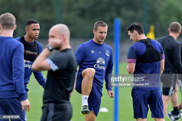 Phil Jagielka Brendan Galloway and Gareth Barry during the Everton training session at Finch Farm on August 13 2015 in Halewood England