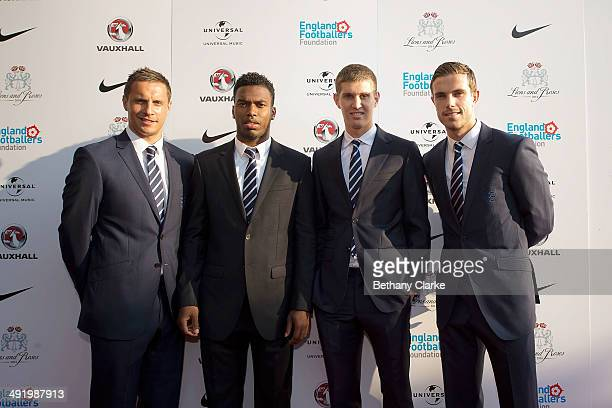 Phil Jagielka Daniel Sturridge John Stones Jordan Henderson on the red carpet at Lions and Roses a special gala dinner to benefit the England...