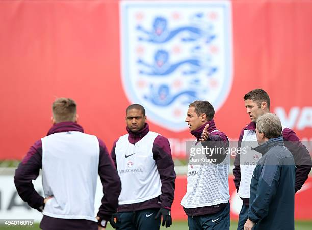 Phil Jagielka gestures during a training session at St Georges Park on May 27 2014 in BurtonuponTrent England