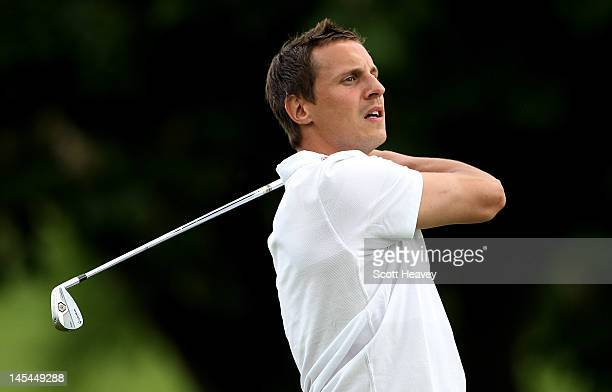 Phil Jagielka in action during a Vauxhall Golf Day for the England Football team at The Grove Hotel on May 30 2012 in Hertford England