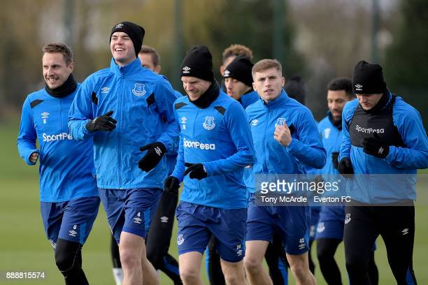 Phil Jagielka Michael Keane Davy Klaassen Jonjoe Kenny and Wayne Rooney during the Everton FC training session at USM Finch Farm on December 9 2017...