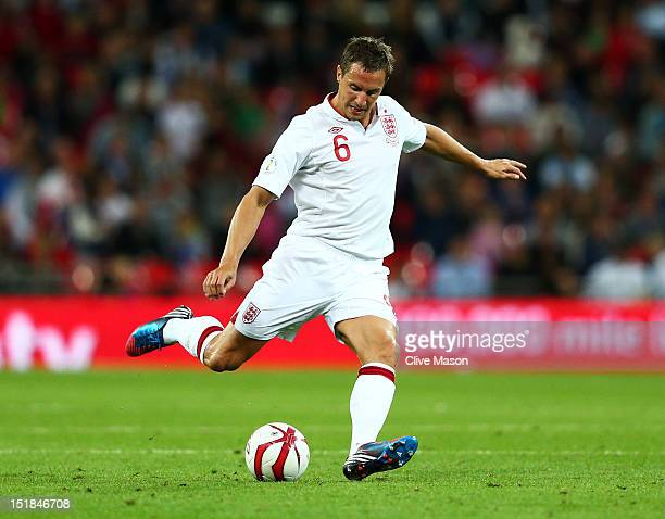 Phil Jagielka of England in action during the FIFA 2014 World Cup Group H qualifying match between England and Ukraine at Wembley Stadium on...