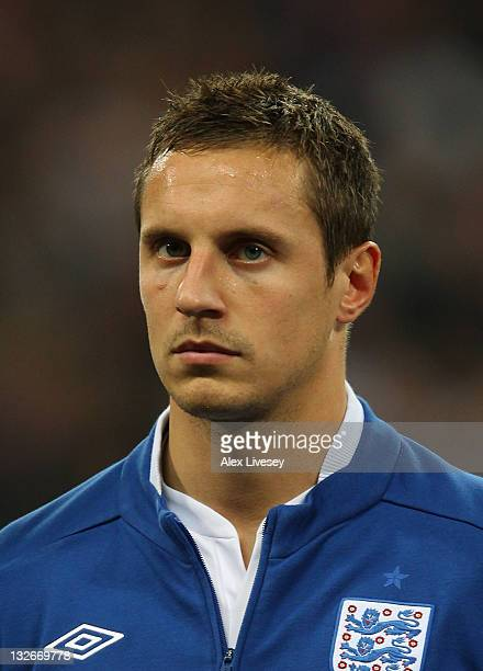 Phil Jagielka of England looks on prior to the international friendly match between England and Spain at Wembley Stadium on November 12, 2011 in...