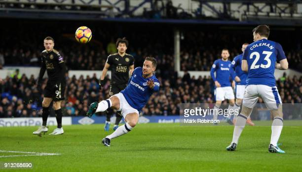 Phil Jagielka of Everton clears the ball during the Premier League match between Everton and Leicester City at Goodison Park on January 31 2018 in...