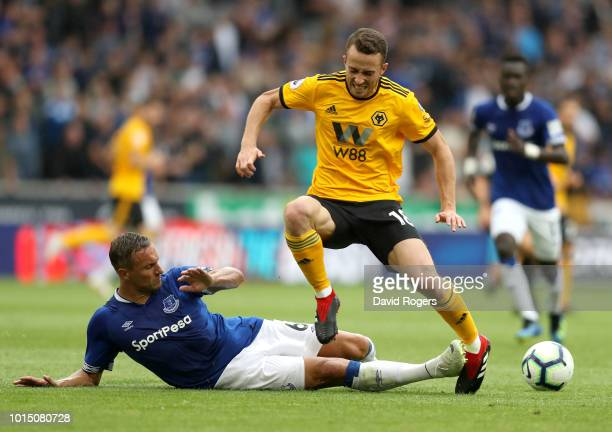 Phil Jagielka of Everton fouls Diogo Jota of Wolverhampton Wanderers leading to Phil Jagielka of Everton recieving a red card during the Premier...