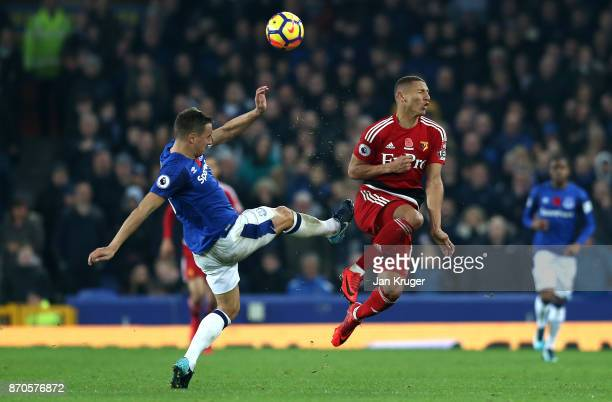 Phil Jagielka of Everton fouls Richarlison de Andrade of Watford during the Premier League match between Everton and Watford at Goodison Park on...