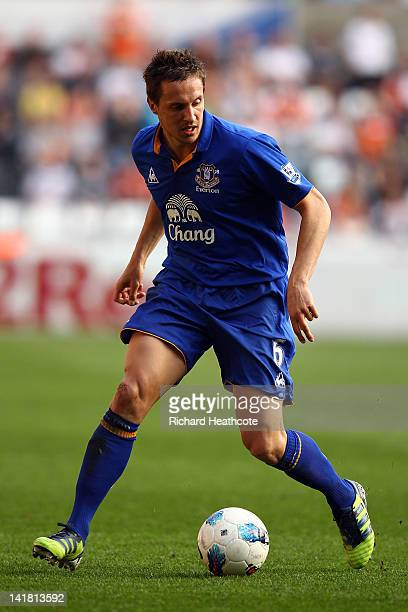 Phil Jagielka of Everton in action during the Barclays Premier League match between Swansea City and Everton at the Liberty Stadium on March 24 2012...
