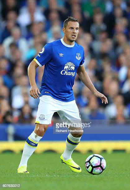 Phil Jagielka of Everton in action during the Premier League match between Everton and Middlesbrough at Goodison Park on September 17 2016 in...