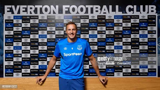 Phil Jagielka of Everton poses for a photo after he signs a new contract at USM Finch Farm on August 2, 2017 in Liverpool, England.
