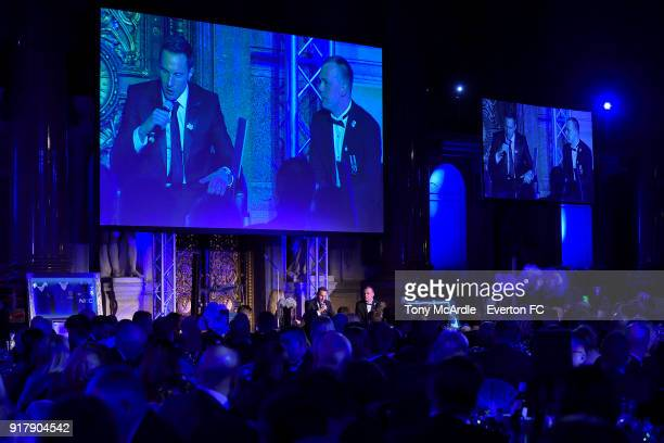 Phil Jagielka of Everton speaks during the Everton in the Community Gala Dinner at St George's Hall on February 13 2018 in Liverpool England