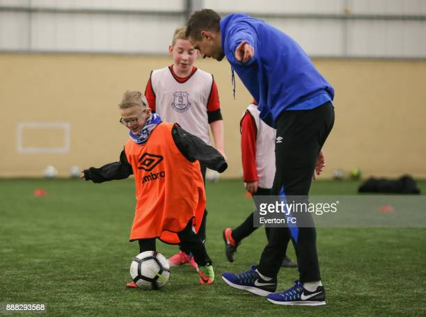 Phil Jagielka of Everton takes part in a football match during the Coaching Session With a Junior Teamat at USM Finch Farm on December 5 2017 in...