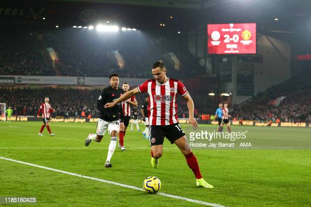 Phil Jagielka of Sheffield United during the Premier League match between Sheffield United and Manchester United at Bramall Lane on November 24 2019...