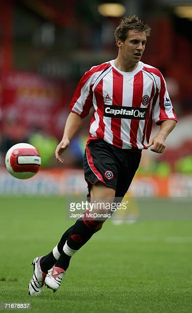 Phil Jagielka of Sheffield United in action during the Barclays Premiership match between Sheffield United and Liverpool at Bramall Lane on August 19...