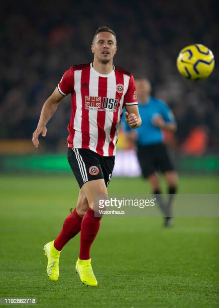 Phil Jagielka of Sheffield United in action during the Premier League match between Sheffield United and Manchester United at Bramall Lane on...