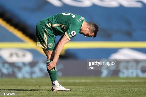 Phil Jagielka of Sheffield United looks dejected after scoring an own goal during the Premier League match between Leeds United and Sheffield United...