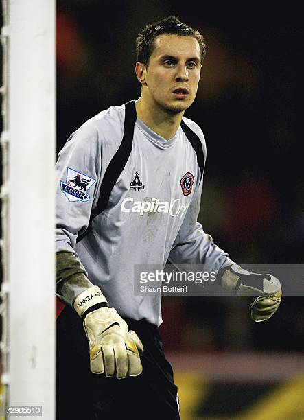Phil Jagielka of Sheffield United protects his goal after standing in for injured goal keeper Paddy Kenny in goal during the Barclays Premiership...