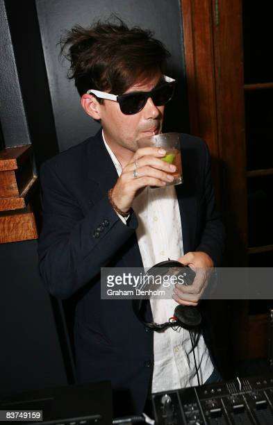 Phil Jameson the lead singer of the band Grinspoon DJs at the official launch party for Soda Bar at the Golden Sheaf Hotel on November 19 2008 in...