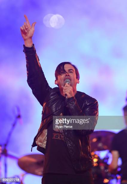 Phil Jamieson of Grinspoon performs before game two of the State Of Origin series between the New South Wales Blues and the Queensland Maroons at ANZ...