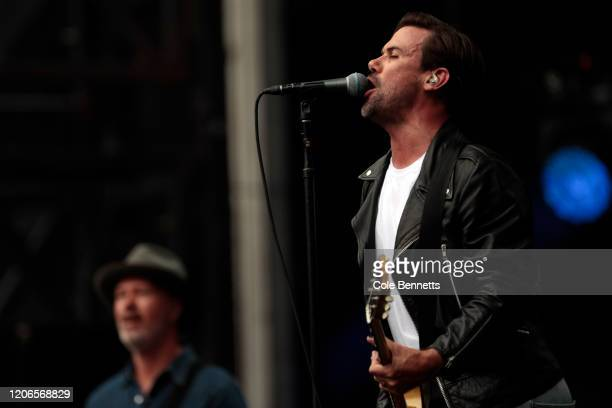 Phil Jamieson of Grinspoon performs during Fire Fight Australia at ANZ Stadium on February 16 2020 in Sydney Australia
