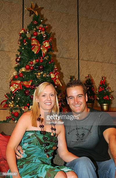 Phil Jaques of Australia and fiance Danielle Small during the Australian Cricket Team's Christmas Lunch held at the Crown Casino on December 25 2005...