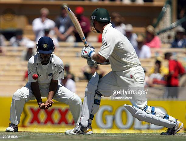 Phil Jaques of Australia hits the ball into Sourav Ganguly of India during day three of the Fourth Test between Australia and India at Adelaide Oval...