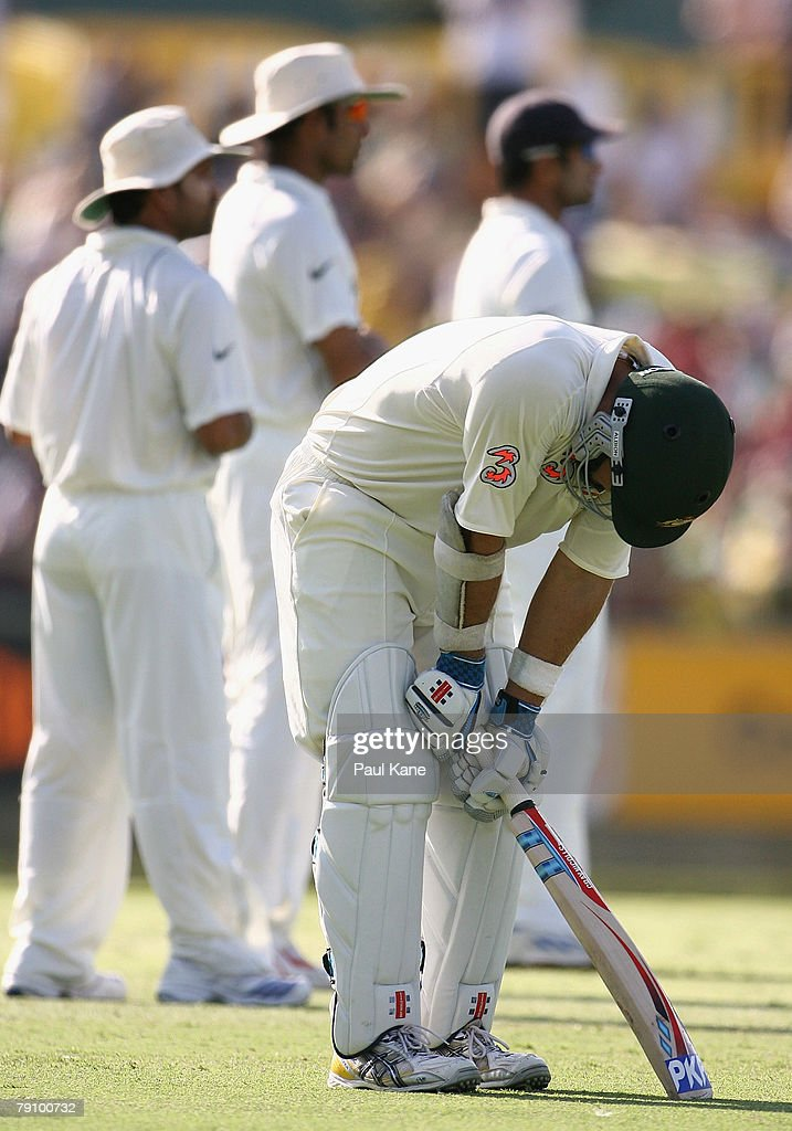 Phil Jaques of Australia takes a break after being struck by a ball while running between the wickets during day three of the Third Test match between Australia and India at the WACA on January 18, 2008 in Perth, Australia.