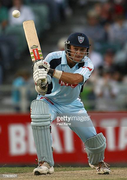 Phil Jaques of the Blues watches the ball during the Twenty20 Big Bash between the Western Australian Warriors and the New South Wales Blues at the...