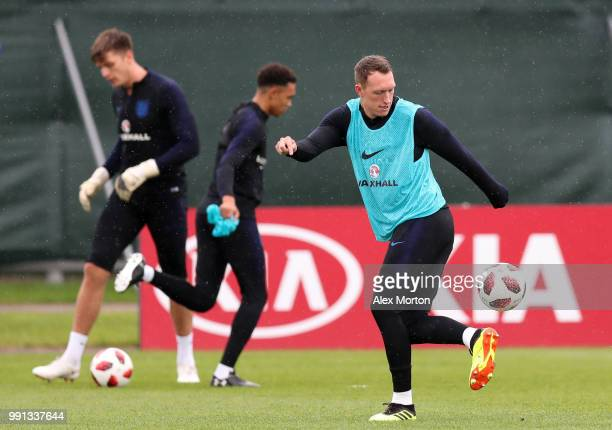 Phil Jones during an England training session on July 4 2018 in Saint Petersburg Russia