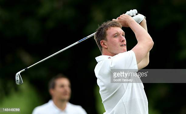 Phil Jones in action during a Vauxhall Golf Day for the England Football team at The Grove Hotel on May 30 2012 in Hertford England