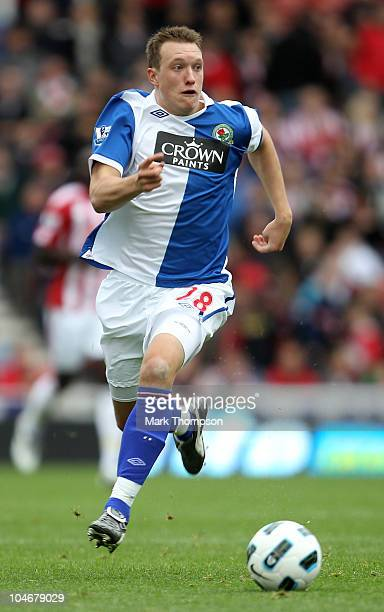 Phil Jones of Blackburn Rovers in action during the Barclays Premier League match between Stoke City and Blackburn Rovers at the Britannia Stadium on...