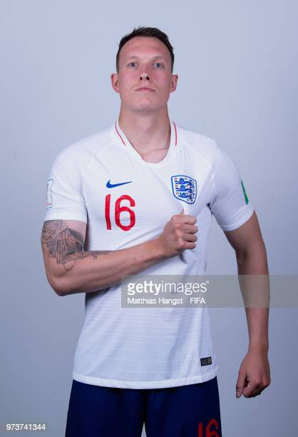 Phil Jones of England poses for a portrait during the official FIFA World Cup 2018 portrait session at on June 13 2018 in Saint Petersburg Russia