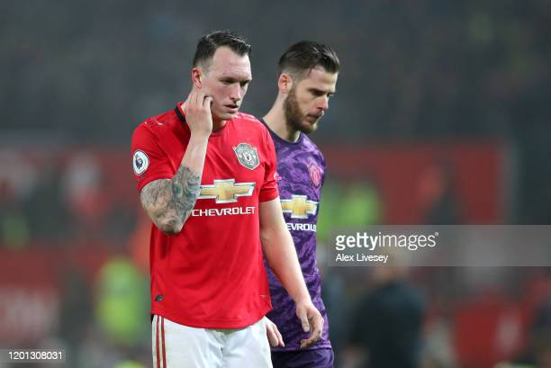 Phil Jones of Manchester United and David De Gea of Manchester United looks on after the Premier League match between Manchester United and Burnley...