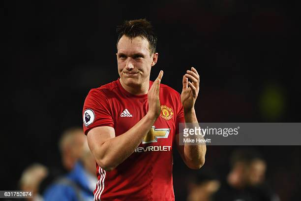 Phil Jones of Manchester United applauds the crowd after the Premier League match between Manchester United and Liverpool at Old Trafford on January...