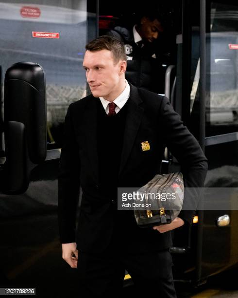 Phil Jones of Manchester United arrives ahead of the Carabao Cup Semi Final match between Manchester City and Manchester United at Etihad Stadium on...