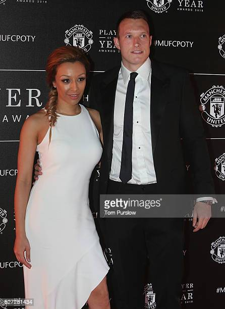 Phil Jones of Manchester United arrives with his partner at the club's annual Player of the Year awards at Old Trafford on May 2 2016 in Manchester...
