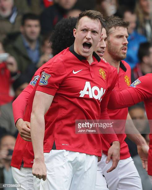 Phil Jones of Manchester United celebrates scoring their first goal during the Barclays Premier League match between West Bromwich Albion and...