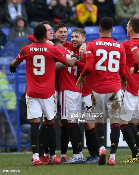 Phil Jones of Manchester United celebrates scoring their fourth goal during the FA Cup Fourth Round match between Tranmere Rovers and Manchester...