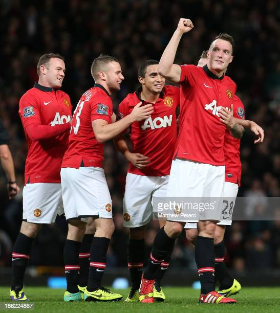 Phil Jones of Manchester United celebrates scoring their third goal during the Capital One Cup Fourth Round match between Manchester United and...