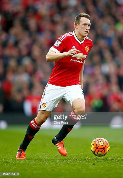 Phil Jones of Manchester United during the Barclays Premier League match between Manchester United and Manchester City at Old Trafford on October 25...
