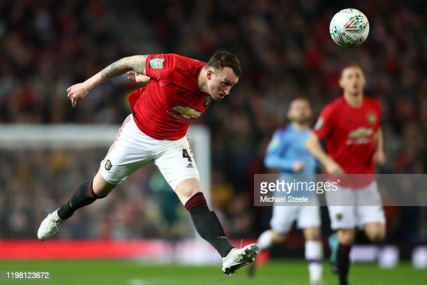 Phil Jones of Manchester United during the Carabao Cup Semi Final match between Manchester United and Manchester City at Old Trafford on January 07,...