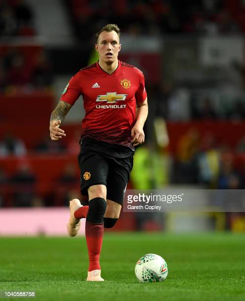 Phil Jones of Manchester United during the Carabao Cup Third Round match between Manchester United and Derby County at Old Trafford on September 25...