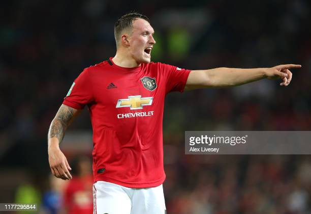 Phil Jones of Manchester United during the Carabao Cup Third Round match between Manchester United and Rochdale at Old Trafford on September 25, 2019...