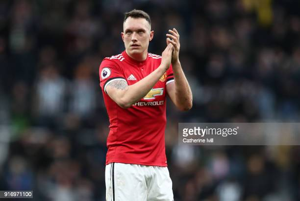 Phil Jones of Manchester United during the Premier League match between Newcastle United and Manchester United at St James Park on February 11 2018...