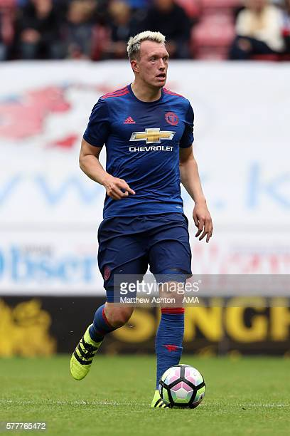 Phil Jones of Manchester United during the preseason friendly between Wigan Athletic and Manchester United at JJB Stadium on July 16 2016 in Wigan...