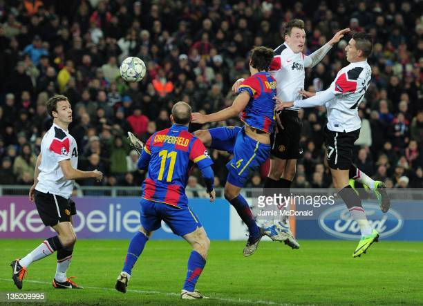 Phil Jones of Manchester United heads their first goal during the UEFA Champions League Group C match between FC Basel 1893 and Manchester United at...