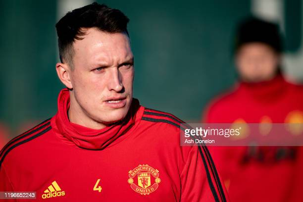 Phil Jones of Manchester United in action during a first team training session at Aon Training Complex on December 30, 2019 in Manchester, England.