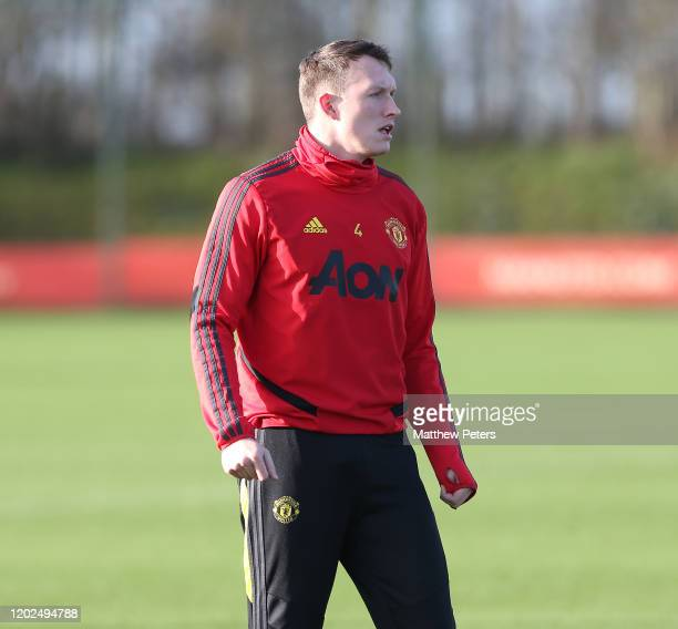 Phil Jones of Manchester United in action during a first team training session at Aon Training Complex on January 28, 2020 in Manchester, England.